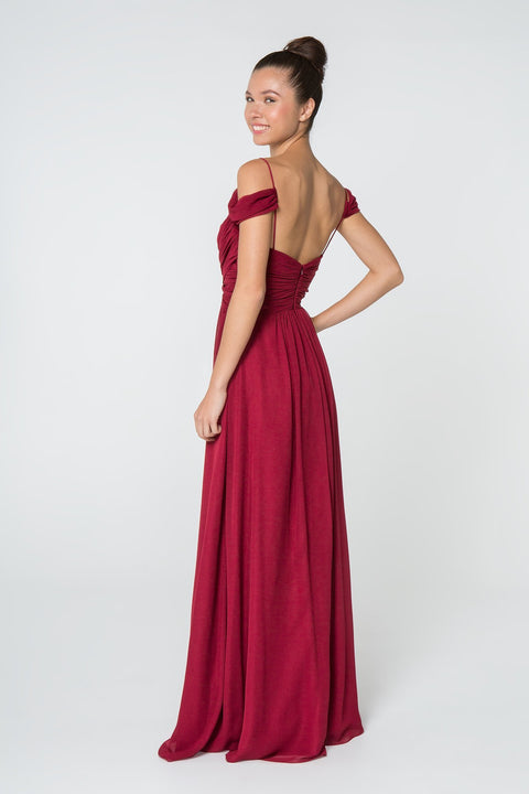 GL2824 Long Dress, Chiffon Ruched Sweetheart in Sage,Mauve, Navy and Wine - Morvarieds Fashion