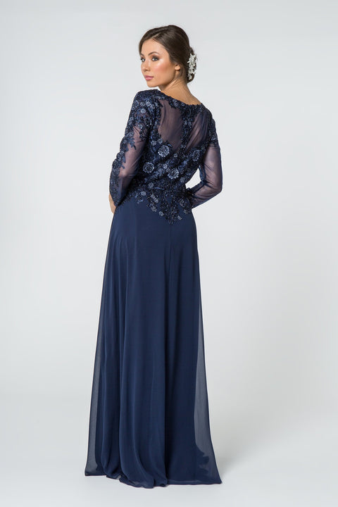 GL2825 Long Dress, Lace Embellished V-Neck Chiffon Long Sleeve - Colour Variants - Morvarieds Fashion