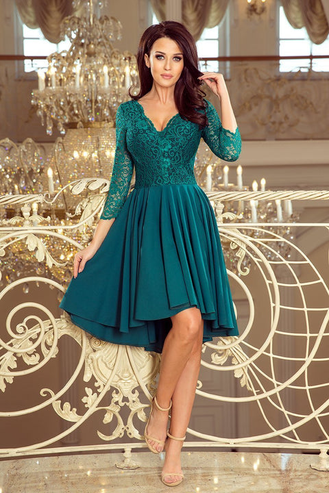 Green Party Dress with longer back with lace neckline - Morvarieds Fashion