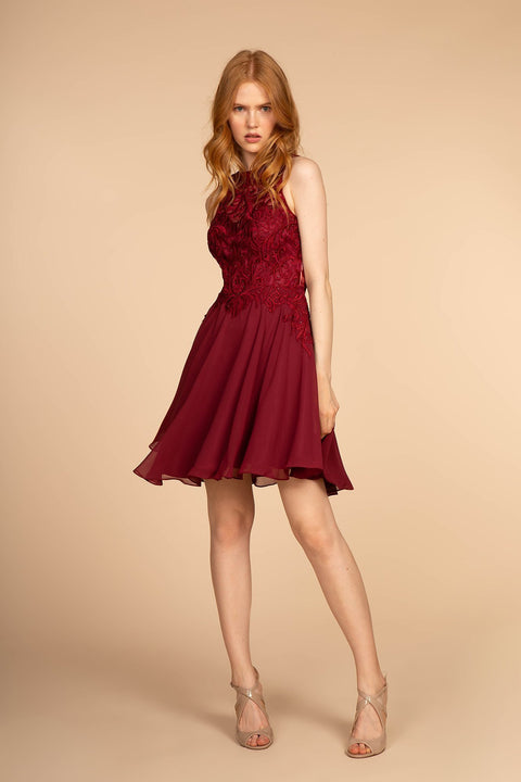 GS1618 Elizabeth K Embroidered Bodice Chiffon Short Cocktail Dress - Morvarieds Fashion