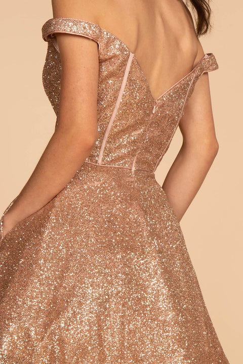 GS1626 Cocktail Dress Off-the-Shoulder Glitter Mesh Short Dress - Morvarieds Fashion