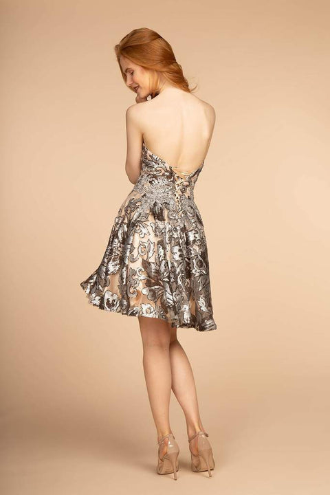 GS1632 Elizabeth K Sequin Embellished Bodice Detachable Strap Short Dress - Morvarieds Fashion