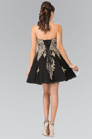 GS2371 Elizabeth K Sweethearted A-line Tulle Short Dress with Corset Back-Black - Morvarieds Fashion