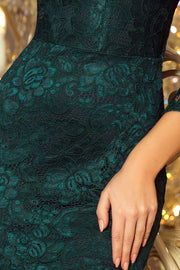 Lace Dress with Flared Sleeves in Dark Green - Morvarieds Fashion