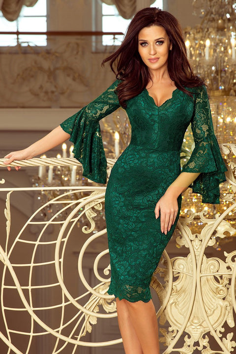 Lace Dress with Flared Sleeves in Green - Morvarieds Fashion
