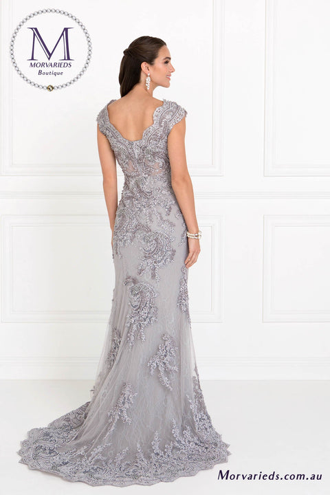 Lace Formal Dress | GL1540 Lace Mermaid Dress with Embroidered V-Back - Morvarieds Fashion