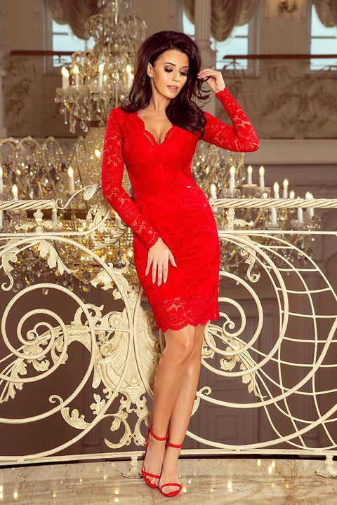 Long Sleeve V Neck Lace Sheath Dress - Color variants - Morvarieds Fashion