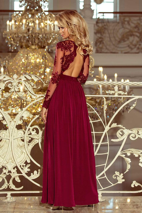 Maxi Formal Dress Burgundy with Embroidery - Morvarieds Fashion
