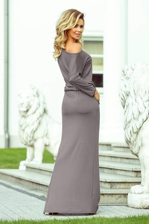 Maxi Off Shoulder Dress in Grey - Morvarieds Fashion