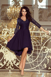 Navy Blue Dress with Lace Neckline and longer Back - Morvarieds Fashion