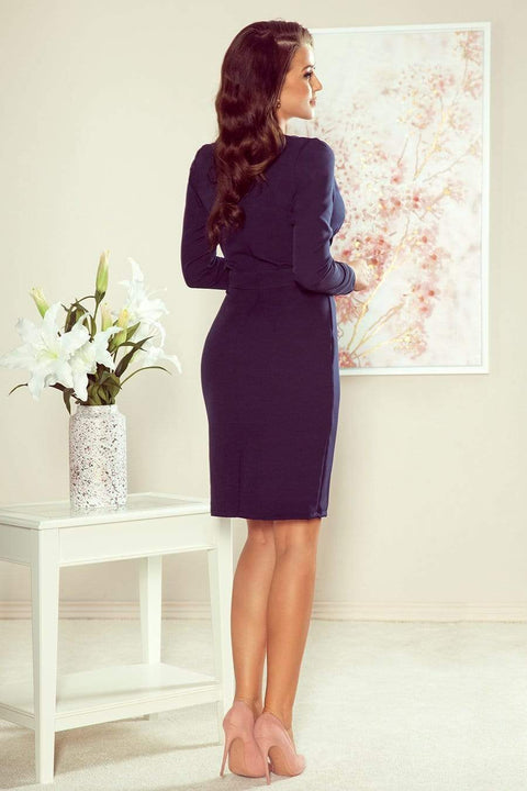 Navy Cocktail Dress, Wrap effect Mini Dress - Morvarieds Fashion