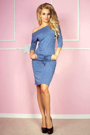 Off Shoulder Tunnel Belt Dress Blue Jeans - Morvarieds Fashion