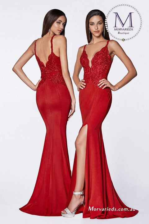 Red Formal Dress Fitted lace bodice gown with deep plunging neckline - Morvarieds Fashion