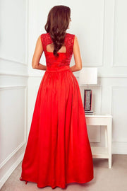 Red Maxi Dress with Embroidered Lace Bodice & Cut out Back - Morvarieds Fashion