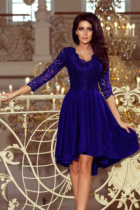 Royal Blue Scalloped Neckline Dress - Morvarieds Fashion