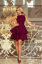 Sleeveless Layered Dress in Burgundy - Morvarieds Fashion