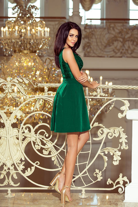 Sleeveless Mini Dress with Pleats in Dark Green - Morvarieds Fashion