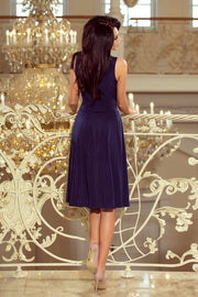 Sleeveless Navy Blue Flared Cocktail Dress - Morvarieds Fashion