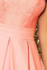 Sleeveless Party Dress with Pleats in Pastel Pink - Morvarieds Fashion