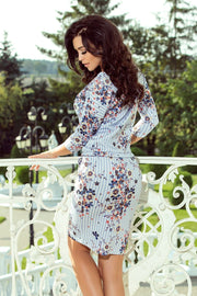Sporty Floral Dress with blue stripes - Morvarieds Fashion