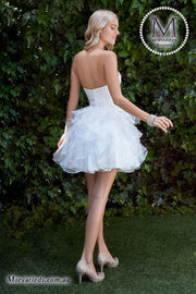 Strapless short dress with pleated bodice and layered ruffle skirt - Morvarieds Fashion