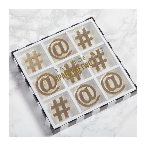 GOLD & WHITE TIC TAC TOE GAME