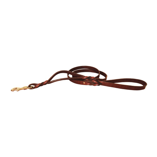 BRAIDED LEATHER LEASH WITH 2 HANDLES