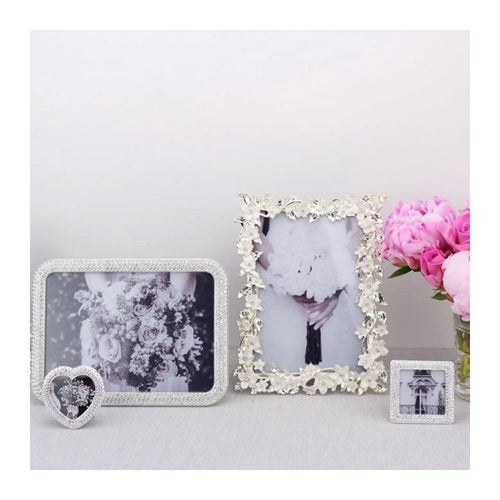 ADDISON ROSS SILVER LEAF & IVORY FLOWER FRAME