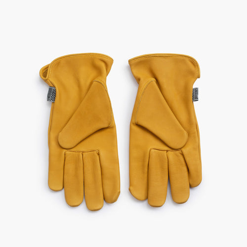 BAREBONES LIVING LEATHER CLASSIC WORK GLOVES - YELLOW