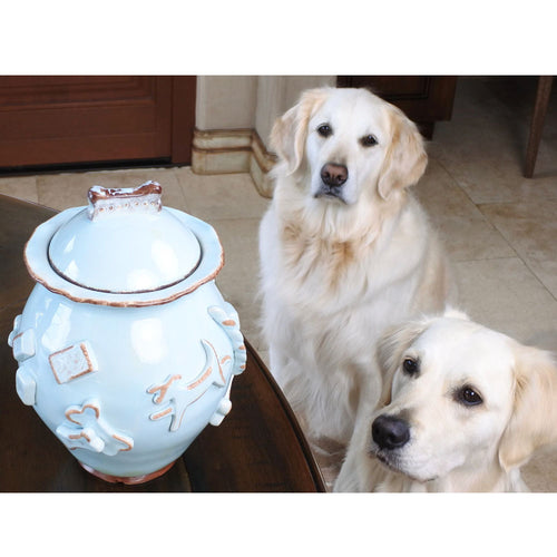 CARMEL CERAMICA CERAMIC DOG TREAT JAR - FRENCH WHITE