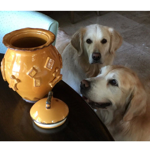 CARMEL CERAMICA CERAMIC DOG TREAT JAR - CARAMEL