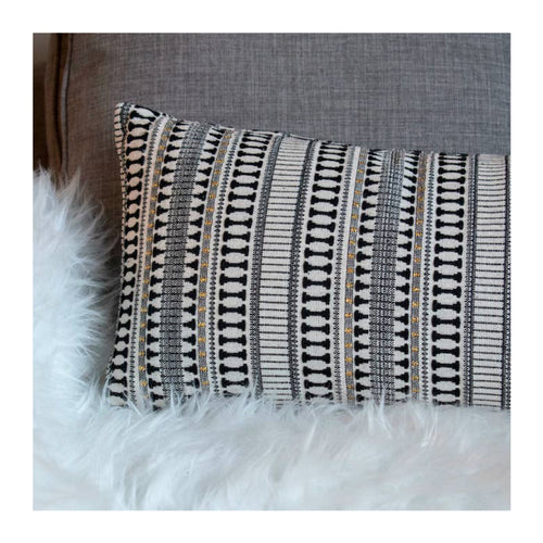 ETOILE LONG LUMBAR PILLOW - BLACK & IVORY