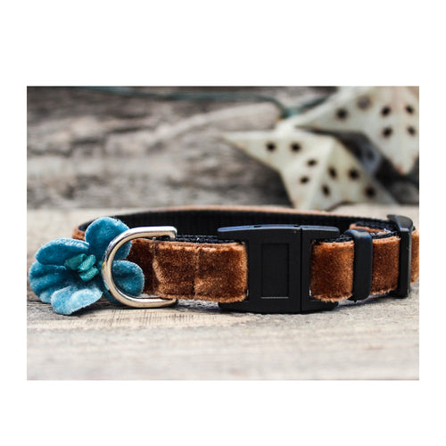 CAMELLIA VELVET BREAKAWAY CAT COLLAR WITH BLUE FLOWER