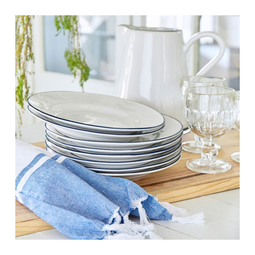 COSTA NOVA BEJA WHITE & BLUE SALAD PLATES - SET OF 6