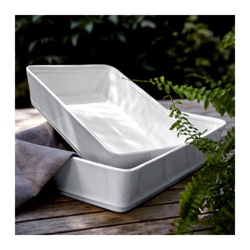 "COSTA NOVA FRISO WHITE 9.75"" RECTANGULAR BAKER"
