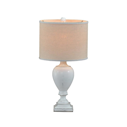 DISTRESSED WHITE EMORY TABLE LAMP