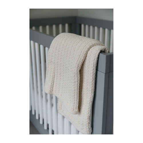 COTTON CABLE KNIT BABY BLANKET - NATURAL