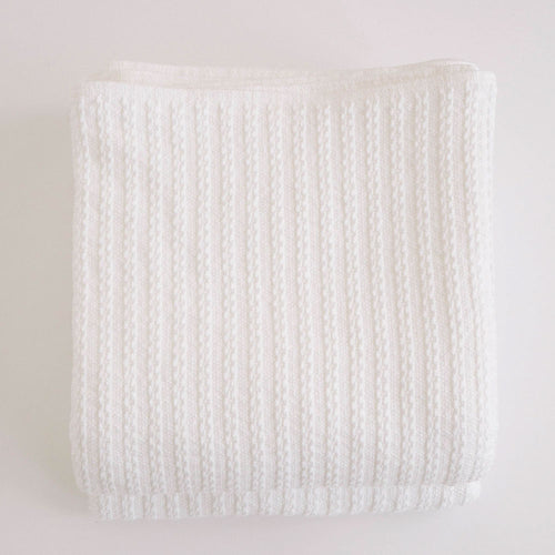 CABLE KNIT BRIGHT WHITE COTTON BLANKET