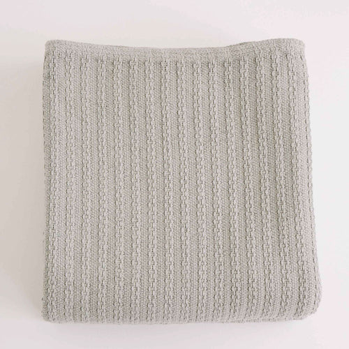 CABLE KNIT CLASSIC GREY COTTON BLANKET