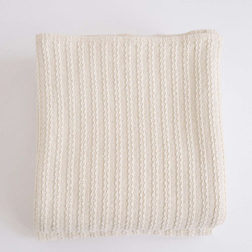 CABLE KNIT NATURAL COTTON BLANKET