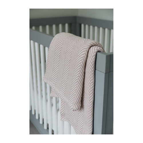 COTTON HERRINGBONE BABY BLANKET – BLUSH/NATURAL