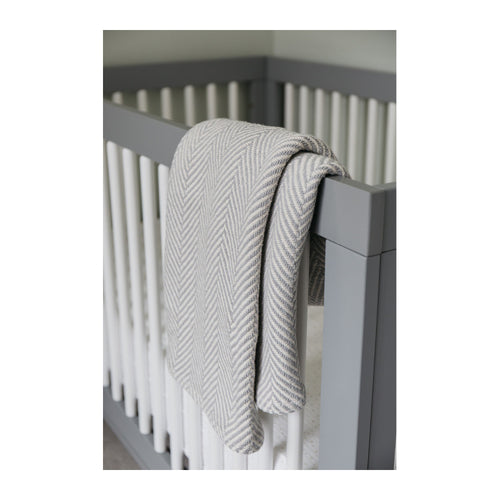 COTTON HERRINGBONE BABY BLANKET - GREY/NATURAL