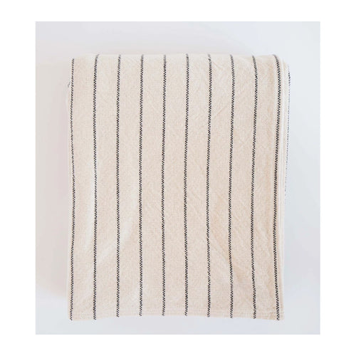 COTTON PINSTRIPE BLANKET - BLACK