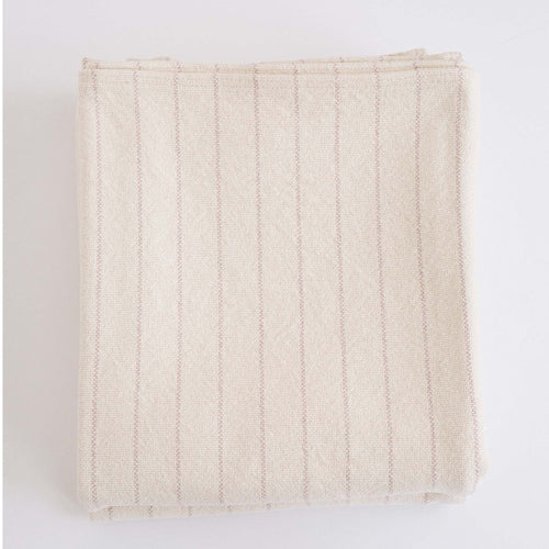 COTTON PINSTRIPE BLANKET - BLUSH
