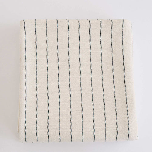 COTTON PINSTRIPE BLANKET - MIDNIGHT BLUE
