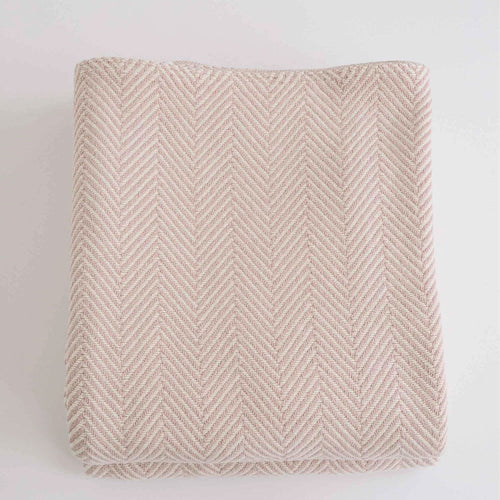 HERRINGBONE BLUSH COTTON BLANKET