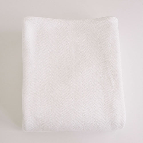 HERRINGBONE BRIGHT WHITE COTTON BLANKET