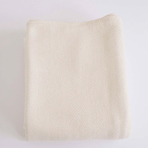 HERRINGBONE NATURAL COTTON BLANKET