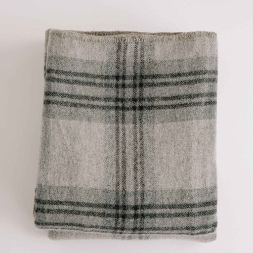 MERINO WOOL BLANKET - FOG & LEDGE PLAID