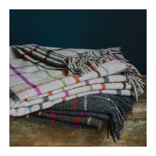 MERINO LAMBSWOOL THROW - FOG PLAID MULTI